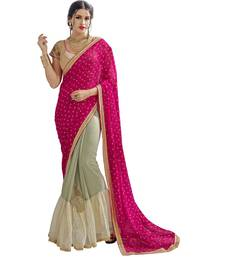 Buy multicolor plain Shimmer saree With Blouse shimmer-saree online