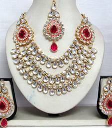 Buy Dark Pink stone three line Wedding Necklace set necklace-set online
