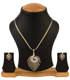 Buy Quail American Diamond Pendant set with chain necklace-set online