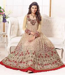 Trishulom Origional Hit Red N Chikoo Embroidered Georgette  Anarkali Suit  shop online