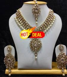 Buy Dazzling kundan set in White Stones and Pearls necklace-set online