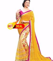 Buy Yellow embroidred chiffon saree with boluse party-wear-saree online