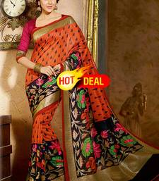 Buy multicolor printed bhagalpuri saree with blouse bhagalpuri-silk-saree online