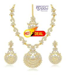 Buy Sukkhi Incredible Gold Plated Australian Diamond Stone Studded Necklace Set(2040NADK1500) necklace-set online