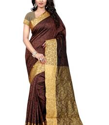 Buy Coffee printed banarasi saree With Blouse banarasi-saree online