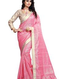 Buy Pink Lace Border Jacquard saree With Blouse jacquard-saree online