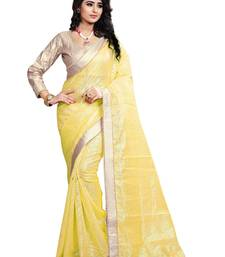 Buy Yellow Lace Border Jacquard saree With Blouse jacquard-saree online