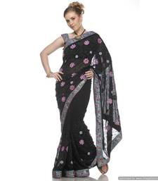 Buy Versatile Black , Viscous Georgette Sari Embroidered With Sequins,Crystals And Motifs All Over georgette-saree online
