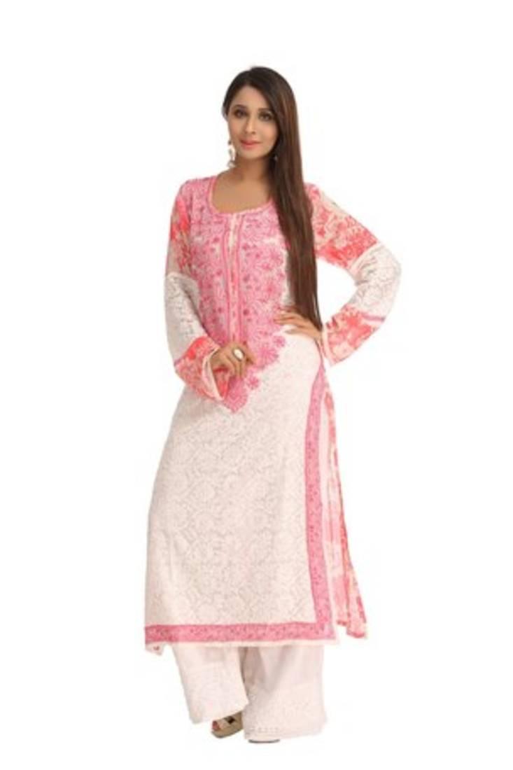 Buy Ada Hand Embroidered White Georgette Lucknowi Chikankari Kurti Online