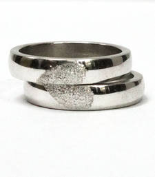 Buy Cara sterling silver and  certified Swarovski stone Half my heart couple bands engagement-gift online
