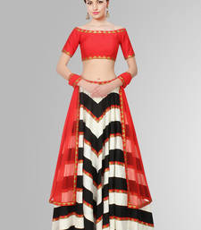 Buy Black and White Printed Raw Silk unstitched lehenga-choli lehenga-below-3000 online
