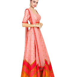 Buy Peach Printed Raw Silk unstitched lehenga-choli lehenga-below-3000 online