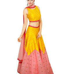 Buy Pink and Yellow Printed Raw Silk unstitched lehenga-choli lehenga-below-3000 online