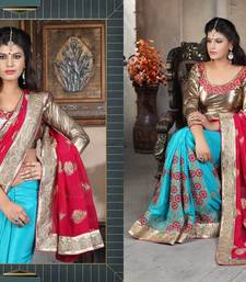 Buy multicolor embroidered viscose saree With Blouse viscose-saree online