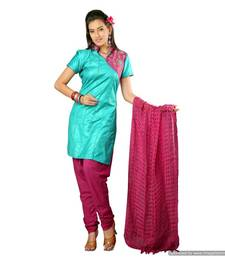 Buy Truly Exotic Turquoise-Magenta Handloom Silk Suit With Pintucks_Ss0911 salwars-and-churidar online