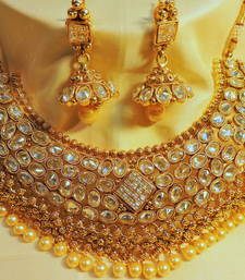 Buy Designer wedding kundan gold plated necklace bridal-set online