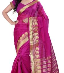 Buy pink woven art silk saree with blouse silk-saree online