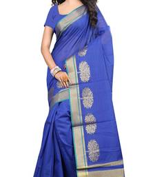 Buy blue woven cotton saree with blouse chanderi-saree online