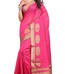 Buy pink woven cotton saree with blouse chanderi-saree online