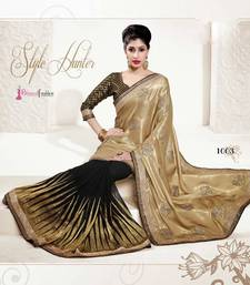 Buy BOLLYWOOD DESIGNER CHIFFON + BUTTER SILK BEIGE SAREE - BFD1003EN satin-saree online