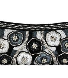 Buy Motifs Design Clutch with Crystal Stones in Black clutch online