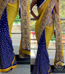 Buy Yellow And Blue Embroidered Georgette Saree With Blouse designer-embroidered-saree online