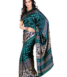 Buy Fabdeal Sea Green Colored Tussar Silk Printed Saree  tussar-silk-saree online