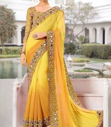 Buy Yellow mirror work georgette saree with blouse party-wear-saree online