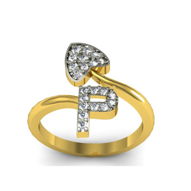buy alphabet p shape gold plated ring