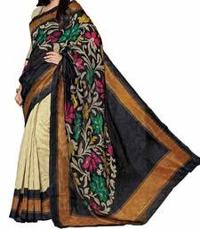 Buy black printed bhagalpuri silk saree With Blouse below-400 online