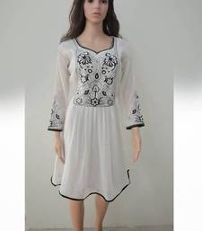 Buy White Georgette Embroidered Fancy Kurtis other-apparel online
