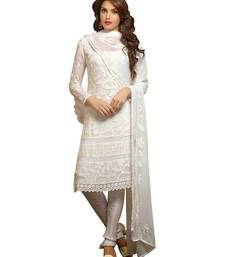 Buy White georgette embroidered semi stitiched salwar with dupatta eid-special-salwar-kameez online
