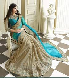 Buy sky blue embroidered silk saree With Blouse art-silk-saree online