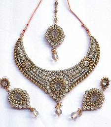 Buy Indian Vintage Royal Kundan Zircon Stud Necklace Set necklace-set online