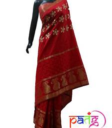 Buy Red 'Gajra Inspired' Sari chanderi-saree online