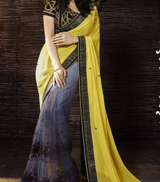 Buy Yellow embroidered saree heavy-work-saree online