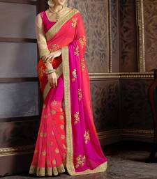 Buy pink embroidered  saree With Blouse bridal-saree online