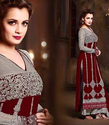 Buy Maroon georgette embroidered semi stitched salwar with dupatta indian-dress online