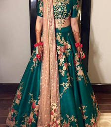 Buy Dark green bhagalpuri silk embroided work fancy lahegha choli bridal-lehenga online