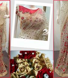 Buy embroidered Net saree by kmozi (Beige) designer-embroidered-saree online
