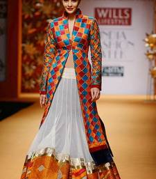 Buy Bollywood replica jacquline fernandiz designer dress material heavy work over coat dress online