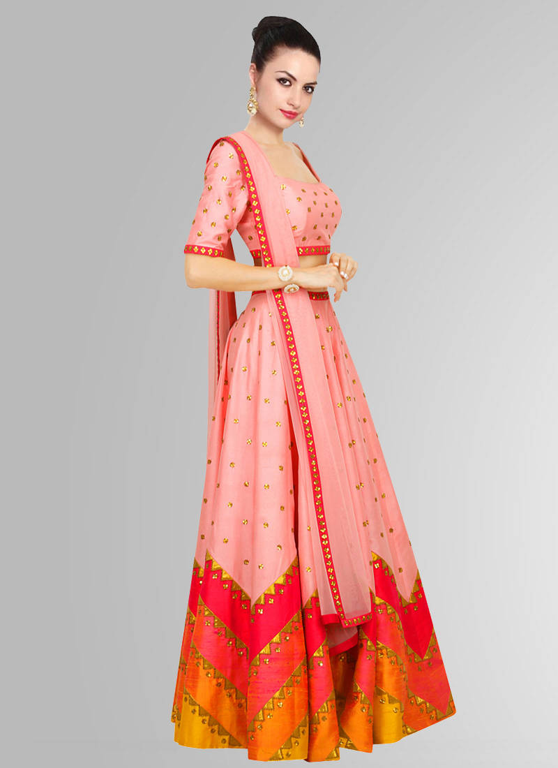 Buy Peach printed raw silk unstitched navratri lehenga ...