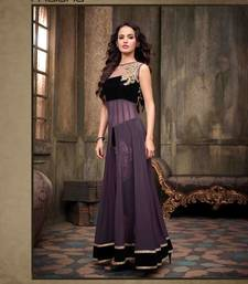 Buy Purple and black georgette embroidered semistitched salwar with dupatta anarkali-salwar-kameez online