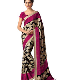 Buy Beige and Pink printed crape saree with blouse art-silk-saree online