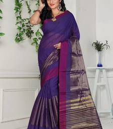 Buy indigo hand woven cotton saree With Blouse cotton-saree online
