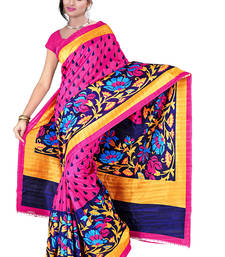 Buy multicolor printed bhagalpuri_silk saree With Blouse below-300 online