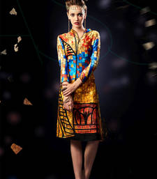 Buy Multicolor printed stitched kurti  cotton and satin printed stitched kurti multicolor-kurti online