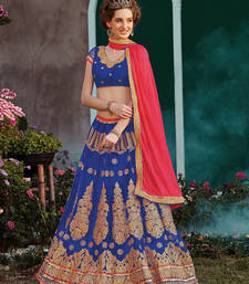 Buy navy blue embroidered net ghagra choli eid-lehenga online