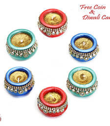 Buy Multicolor wax filled matki shape diya candles (set of 6) candle online