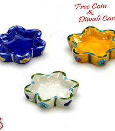 Buy Amazing tricolor floral shape candle diyas- set of 3 candle online